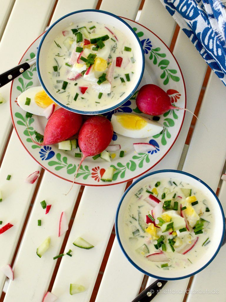 Kalte Russische Sommersuppe #okroschkarezept Kalte Russische Sommersuppe - Stilettos & Sprouts #okroschkarezept
