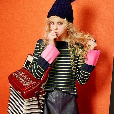 Elf Sack autumn female color block collar long-sleeved striped knitwear| elfsack