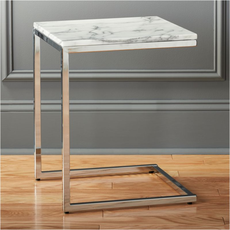 Shop Smart Chrome C Table with White Marble Top. Sidekick