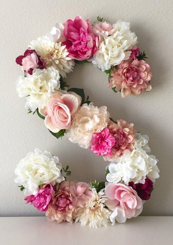 Photo of White Flower Letter, Cream Floral Letter, Blush Nursery Decor, Shabby Chic Decor, Baby Girl Gift, Photo Prop, Baptism Gift, Christening Gift