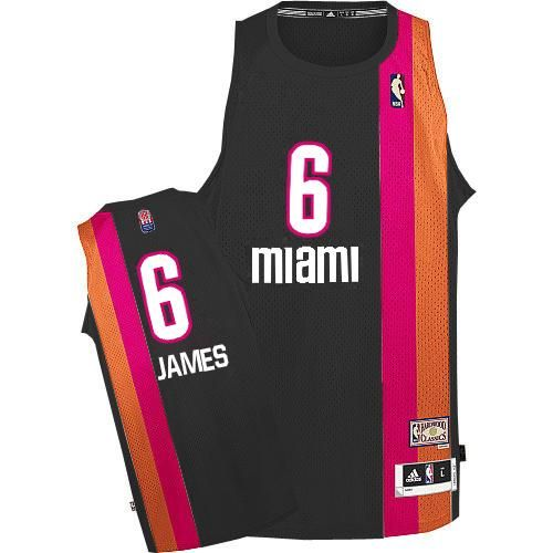ae2eef0b83d Adidas NBA Miami Heat 6 LeBron James Swingman Retro Black Rainbow Jersey