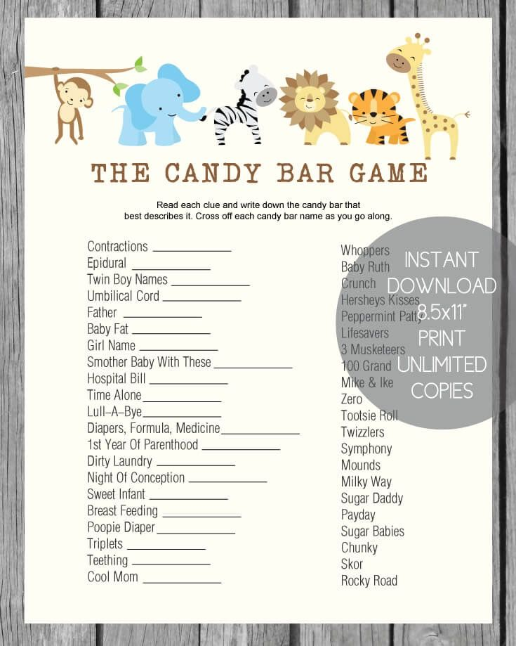 Baby Shower Candy Bar Game Jungle Theme Woodland Animals Theme