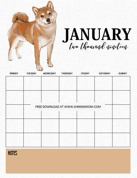 2019 Calendar And Life Planner Free Printables For Dog Lovers