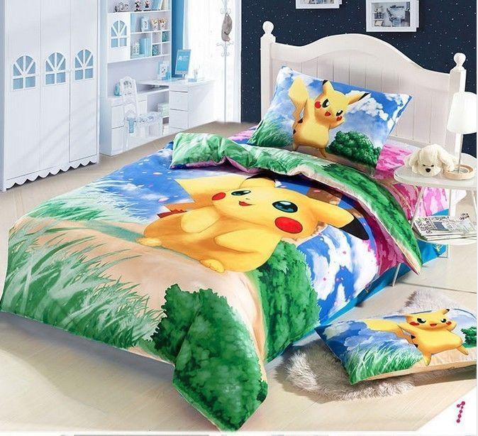 60 X80 Pokemon Pikachu Monster Duvet Cover Flat Sheet Pillow