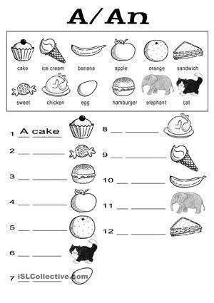 Food Using A An Kindergarten English English Worksheets For Kids English Grammar Worksheets Preschool esl worksheets pdf
