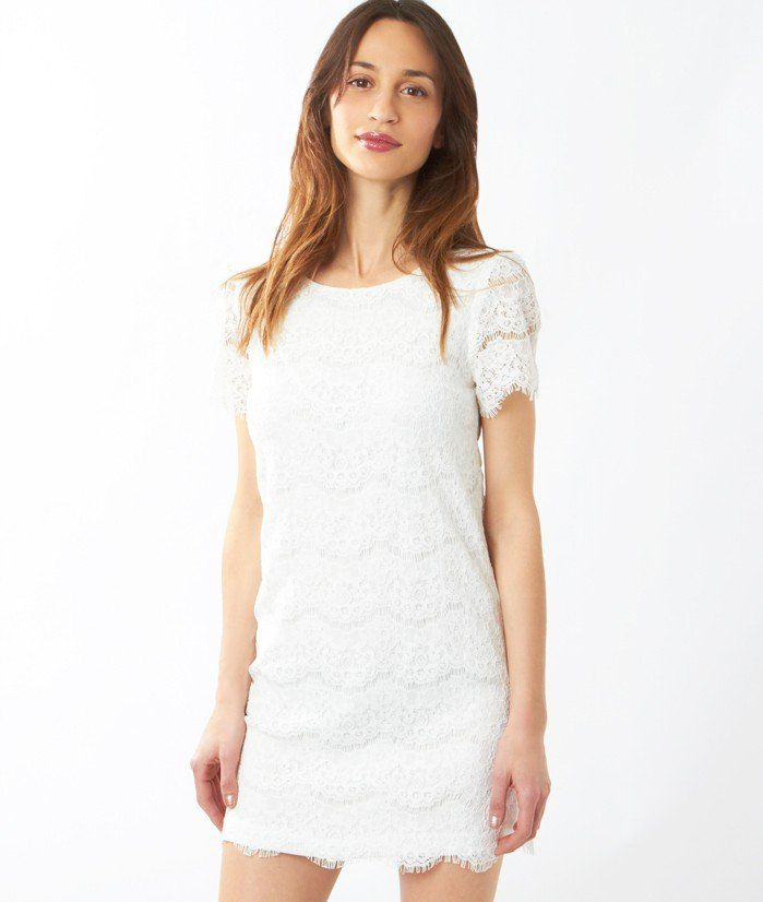 c8f09aa5f024a Robe ETAM promo robe pas cher, la Robe dentelle MARNY Blanc Cassé Etam prix  promo Boutique Etam 44.95 €