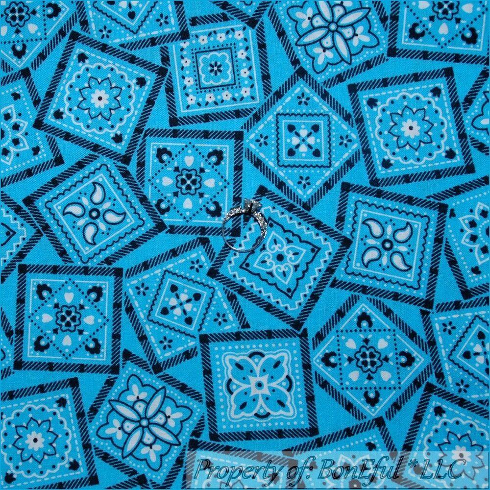 BonEful Fabric FQ Cotton Quilt Aqua Blue White Black Flower Dot Cow*Boy Bandana
