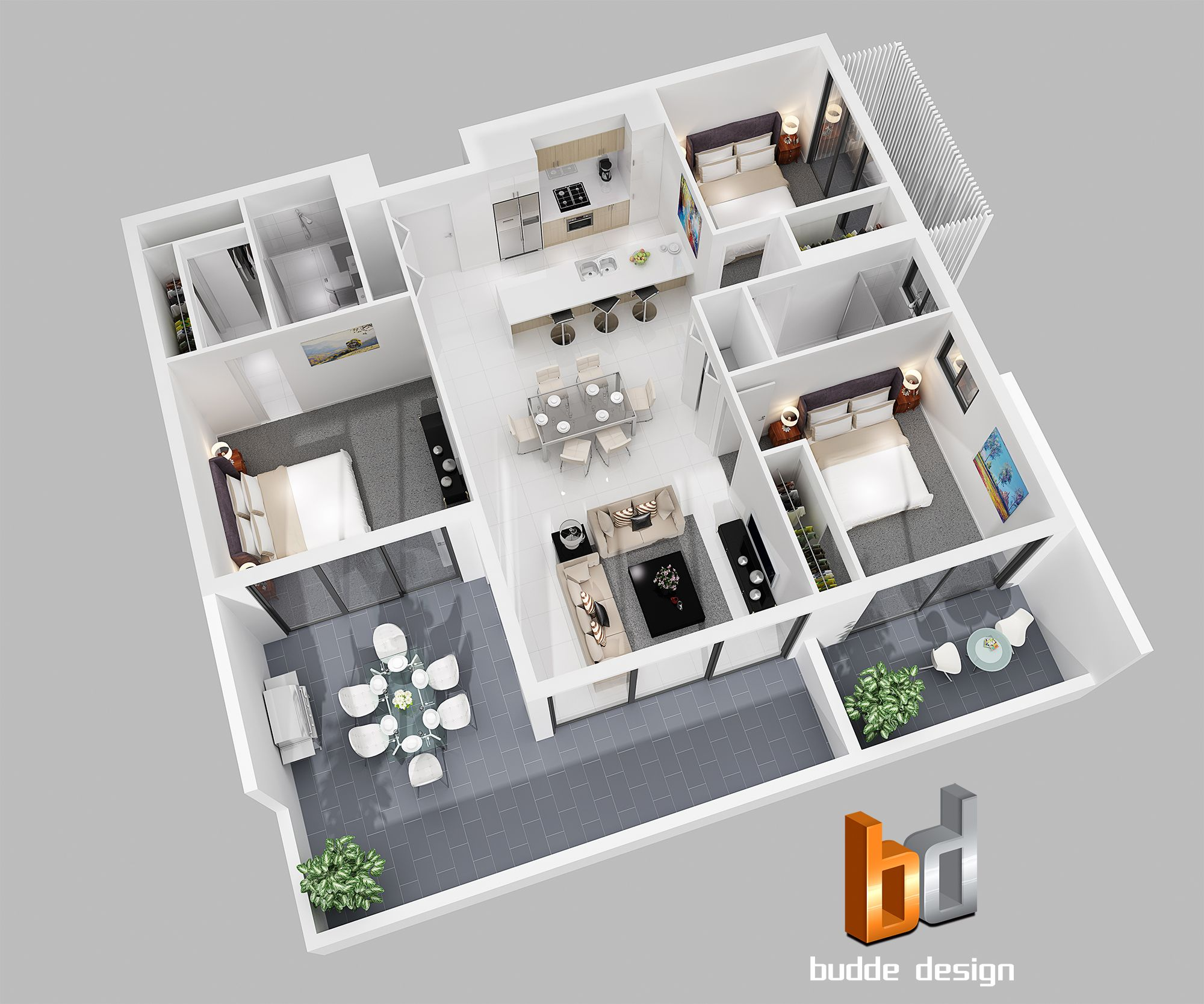 3D floor plan for an apartment development Chermside Brisbane