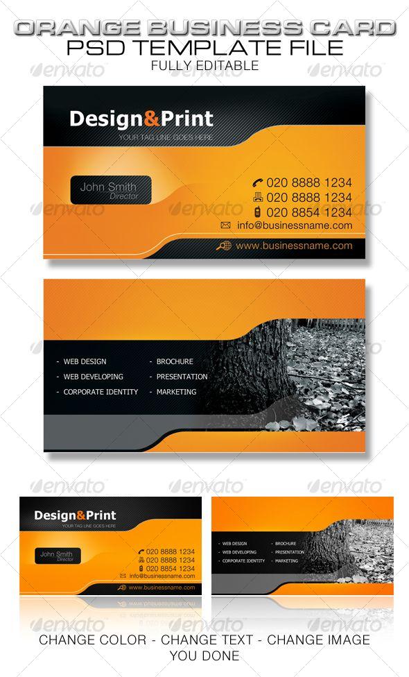 Orange Business Card Template Name Card Design Business Cards Creative Card Designs Inspiration