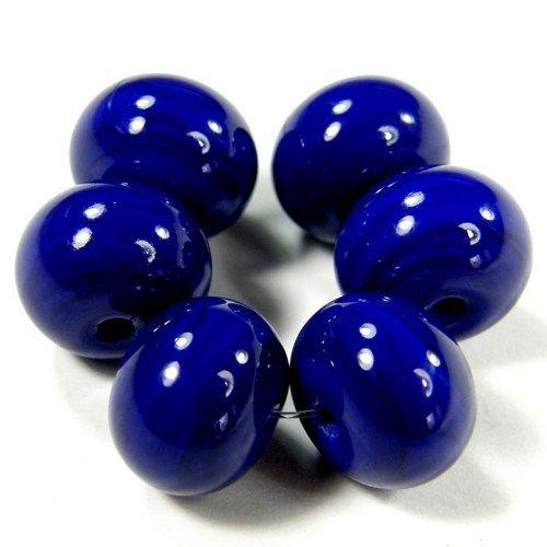 Lapis Blue Handmade Lampwork Beads Dark Cobalt Jewelry Beads 246g   Covergirlbeads - Jewelry on ArtFire
