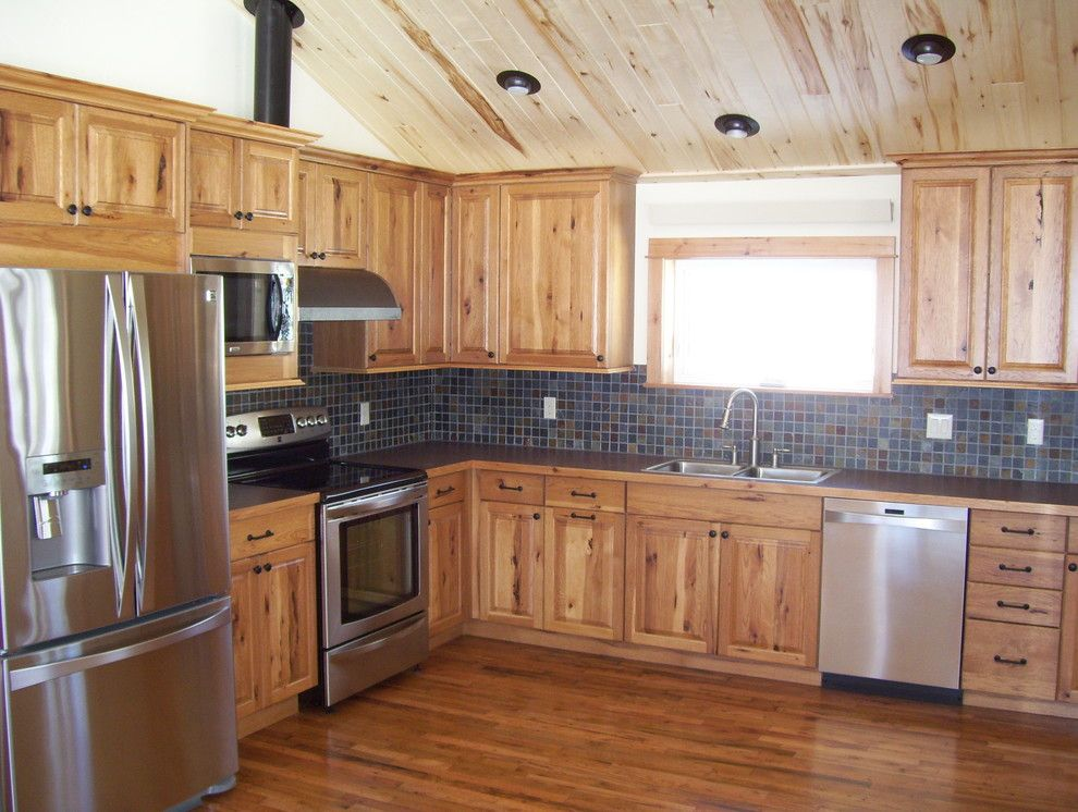 Rustic Hickory Cabinets Kitchen With Cabin Knotty