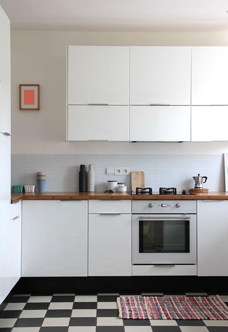 Easy, temporary backsplash: Smart Tiles. #kitchen white kitchen ...