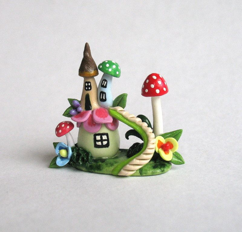 Miniature Whimsical Fairy Blossom & Toadstool Houses with Staircase OOAK by C. Rohal. $38.50, via Etsy.
