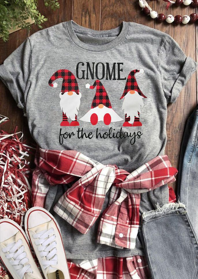 Christmas Gnome For The Holidays Plaid Printed T Shirt Holiday Plaid Christmas Shirts Christmas Outfit
