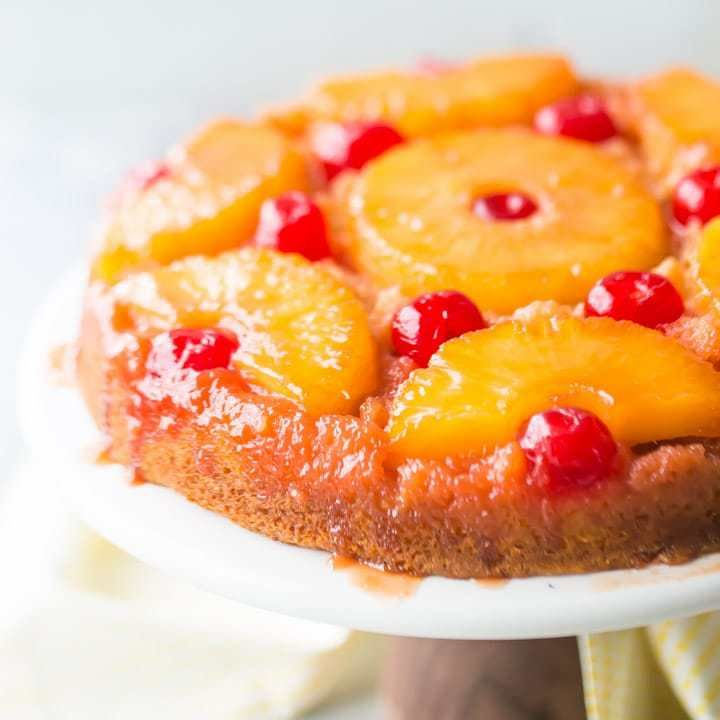 Easy Pineapple Cake Recipes From Scratch: Square Image Of A Pineapple Upside Down Cake With Cherries
