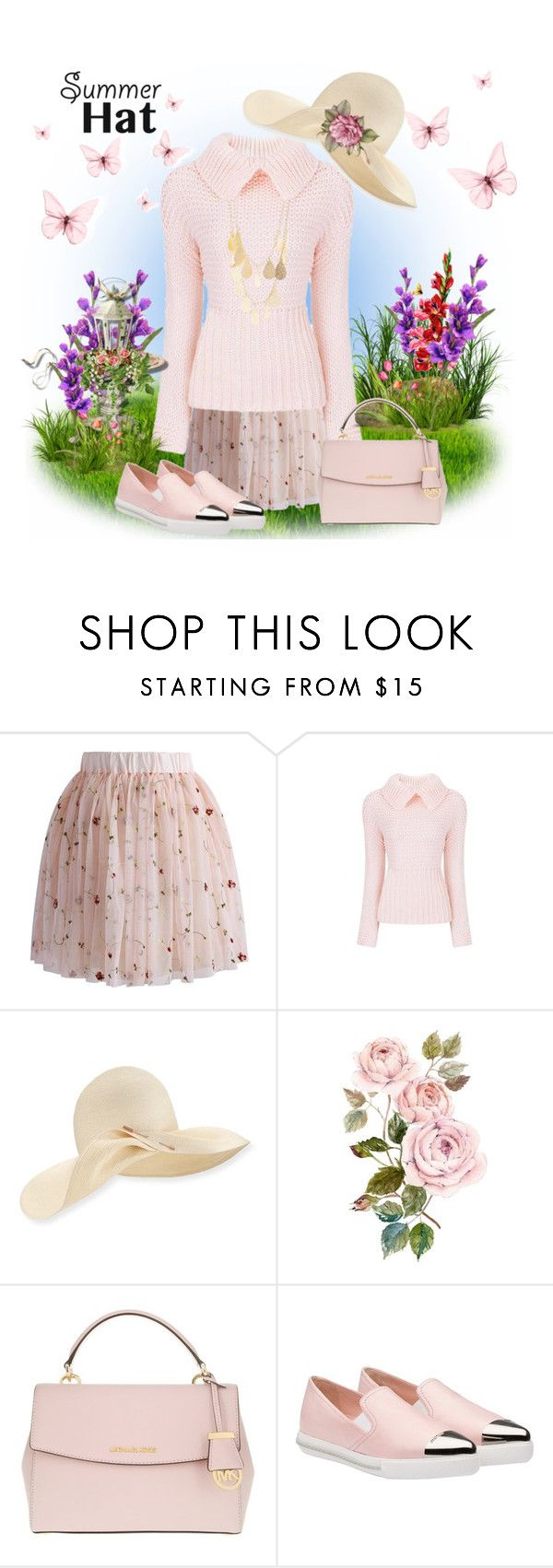 """Sweet Summer Hat"" by loves-elephants ❤ liked on Polyvore featuring Chicwish, Eugenia Kim, Michael Kors, Miu Miu, Charlotte Russe and summerhat"