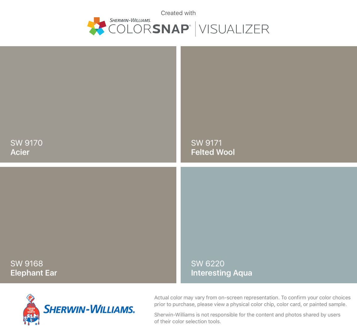 I Found These Colors With Colorsnap Visualizer For Iphone By Sherwin Williams Acier Sw 9170 Elephant Ear 9168 Felted Wool 9171