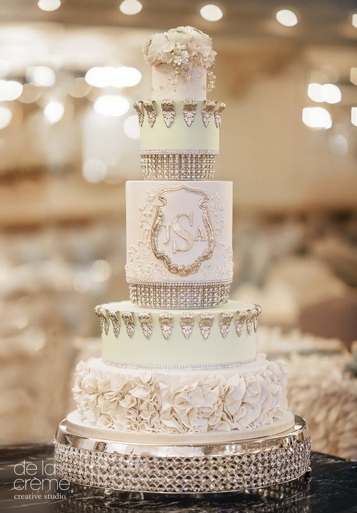 Blush mint and gold wedding cake #weddingcake #cakes #wedding #weddingphotos #weddinginspiration
