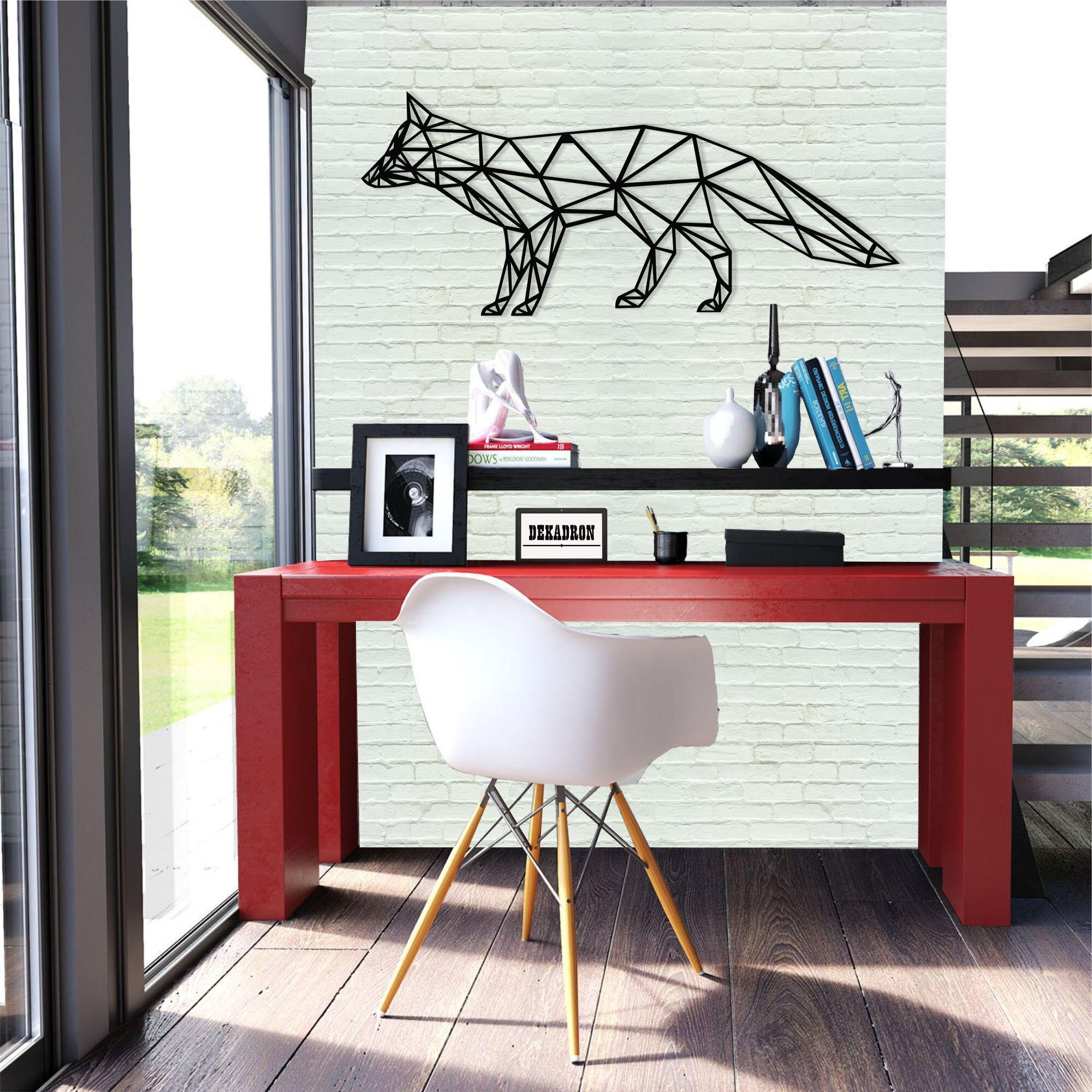 Metal Wall Art- Geometric Fox -3D Wall Silhouette Metal Wall Decor ...
