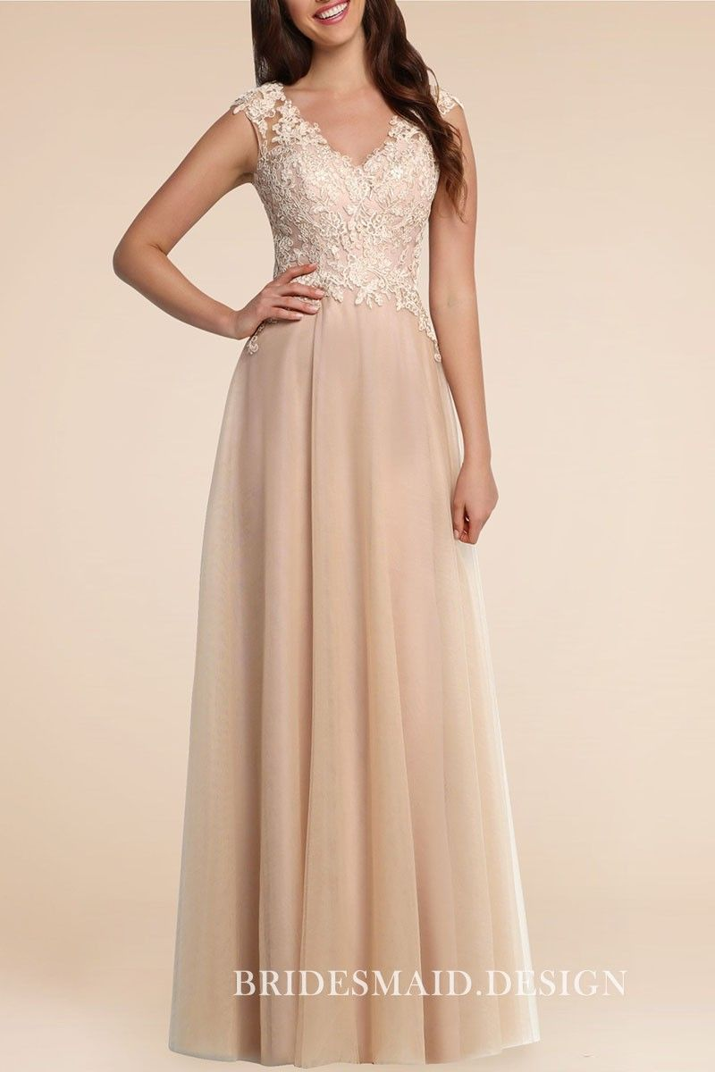Nude lace and chiffon cap sleeve vneck aline long bridesmaid