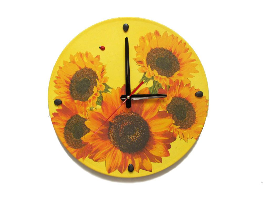 Wall Clock Sunflowers, unique gift, decorative wall clocks, unique ...