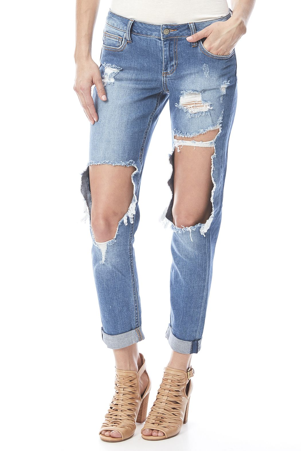 c8085e0cd09 Thigh cut out boyfriend jeans with five pocket styling and a zip fly  closure. Cutout Boyfriend Jean by Cello Jeans. Clothing - Bottoms - Jeans    Denim ...
