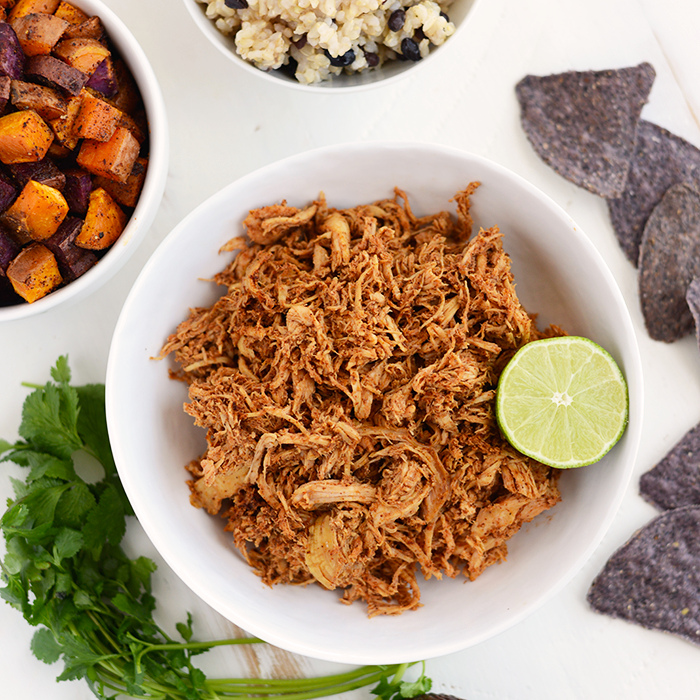 Chicken Taco Bowls Recipe: Clean Eating Crock-Pot Chicken Taco Bowls (Fit Foodie