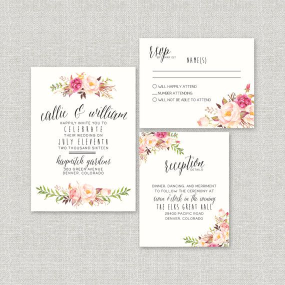 Watercolor Boho Wedding Invitation Suite Deposit Diy
