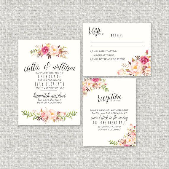 Watercolor Floral Wedding Invitation Suite By SplashOfSilver // Rustic,  Boho Chic // Beautiful