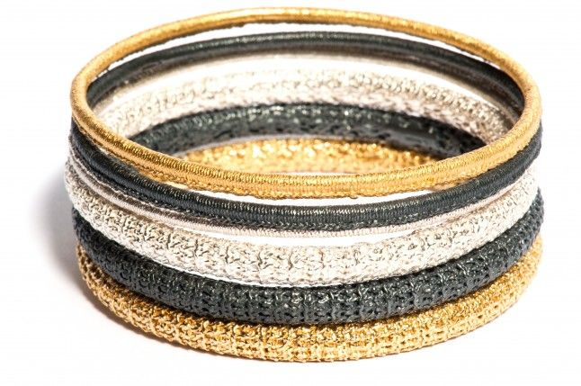 OXIDISED STIRLING SILVER KNIT BANGLE, by Ebba Goring