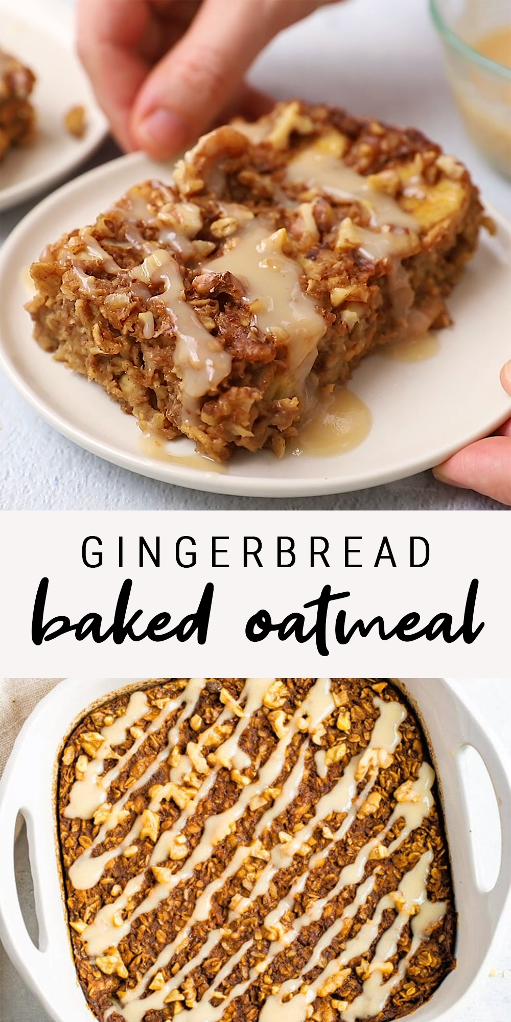 Gingerbread Baked Oatmeal   Healthy + Vegan Recipe