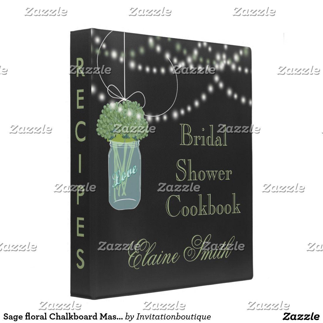 Sage floral Chalkboard Mason Jar Recipe Folder Binder