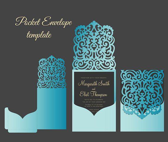 Pocketfold Ornamental Wedding Invitation Envelope SVG Template
