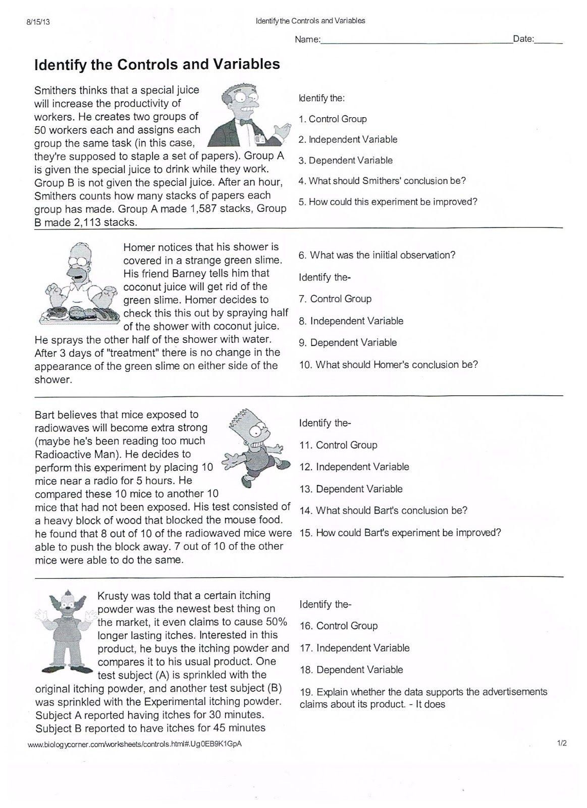 Experimental Variables Worksheet Answers Scientific Method Worksheets Pdf With Images In 2020 Scientific Method Worksheet Science Worksheets Scientific Method