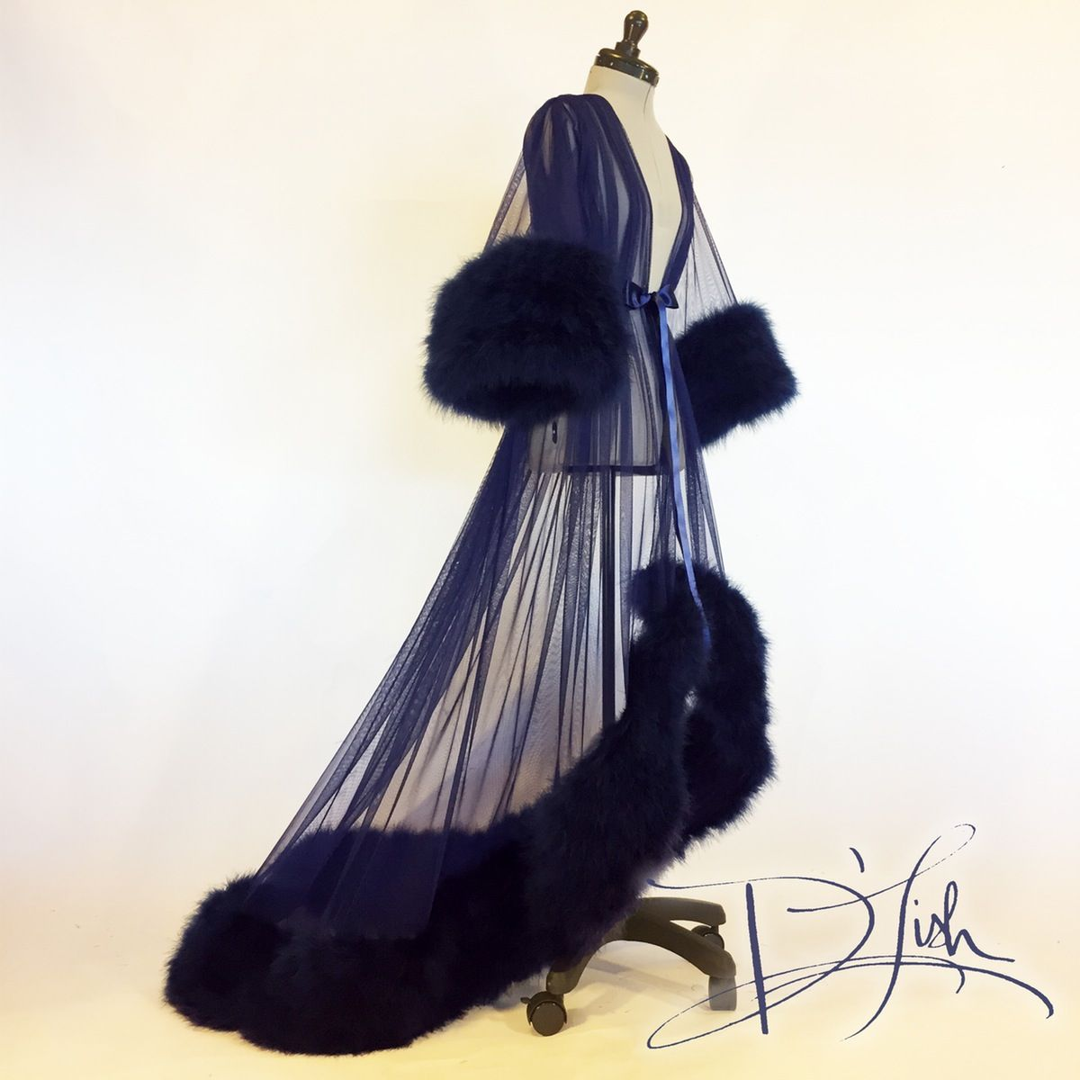 Dramatic Midnight Blue sheer dressing gown, trimmed with thick plush ...