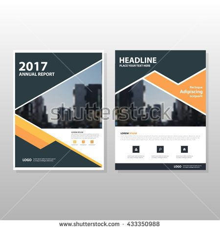 Orange black triangle Vector annual report Leaflet Brochure Flyer - cover template