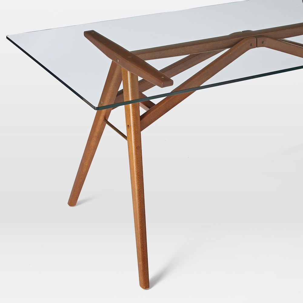 Jensen Dining Table 76 Walnut Glass Top Dining Table