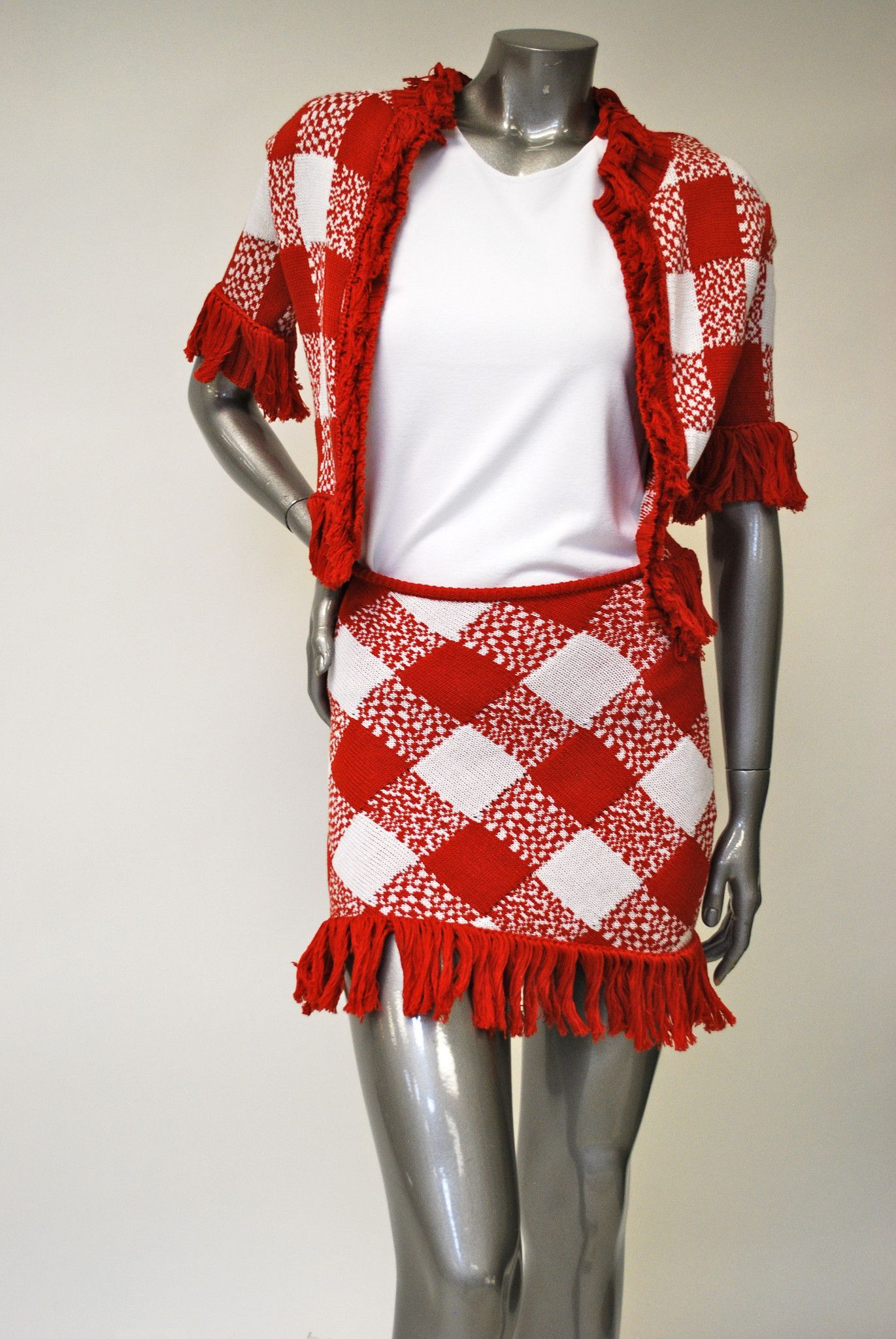 9821f250f7d6 Red and White Fringe Skirt Sale - Checkered Pattern   Products ...