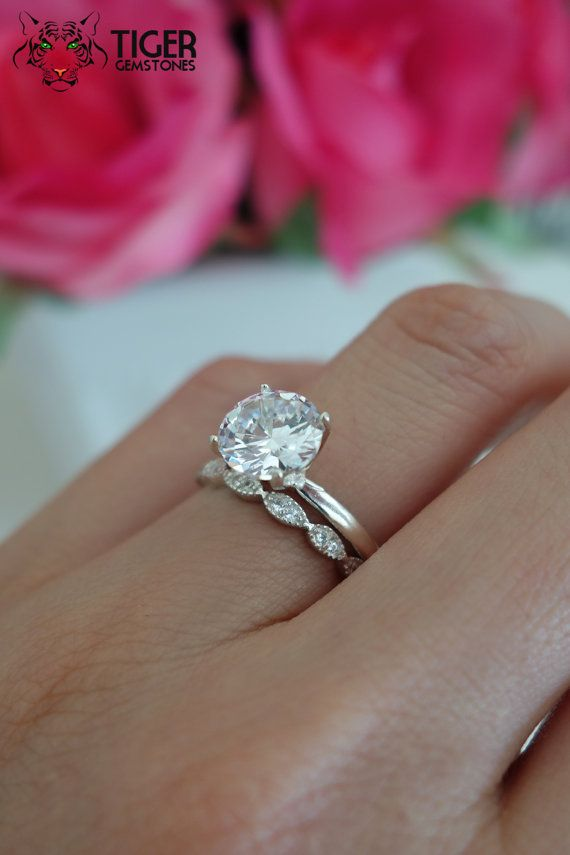2 Carat Art Deco Round Solitaire Wedding Set Man Made Diamond Simulants Engagement Ring Promise Bridal Sterling Silver