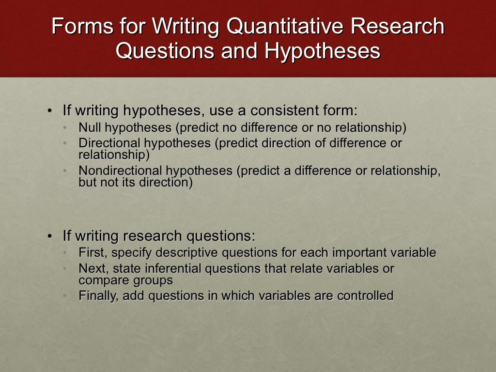 Forms For Writing Quantitative Research Questions And Hypotheses