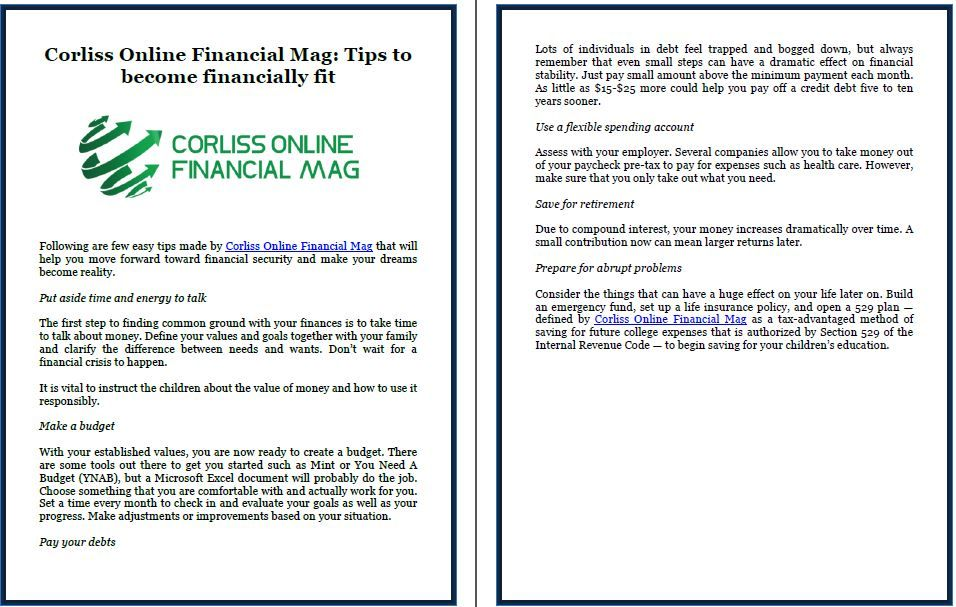 Corliss Online Financial Mag Tips to become financially fit
