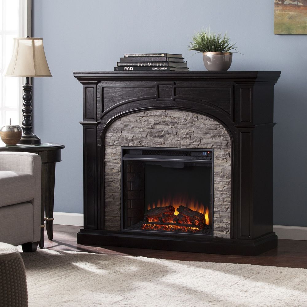 Electric fireplace freestanding gray stacked faux stone traditional