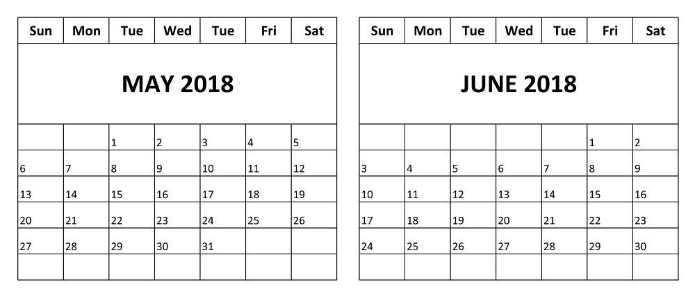 Printable Calendar 2018 May June Blank Calendar Template