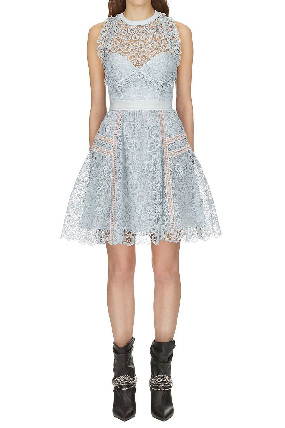 4c50893fc625 Self Portrait Pale Blue Circle Floral Lace Mini Dress | self ...