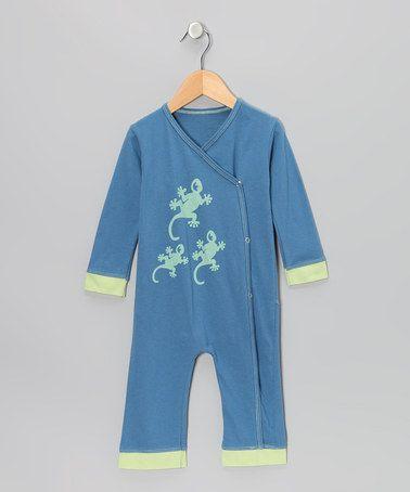 Indigo & Pistachio Gecko Organic Wrap Playsuit - Infant & Toddler by Kids Organic on #zulily today!