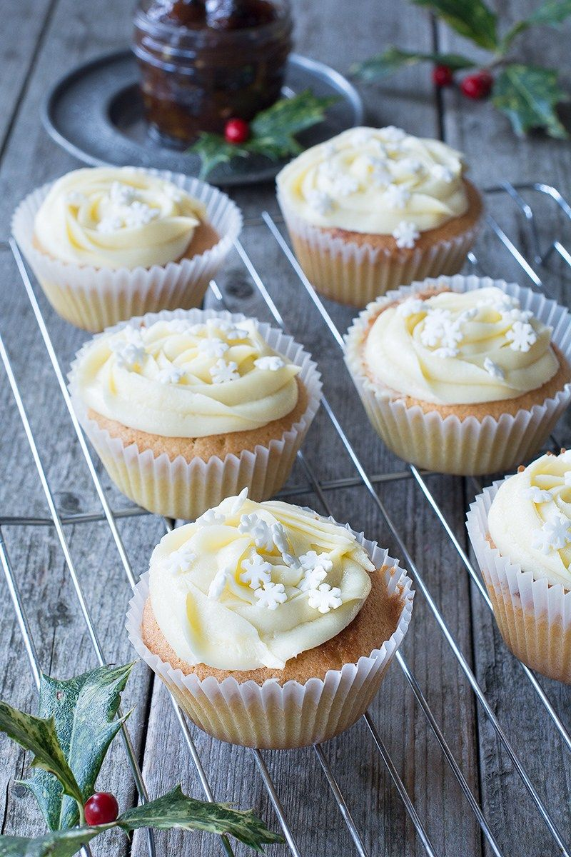 Mince Pie Cupcakes Almond Cupcakes With A Festive Mincemeat Centre And Topped With Brandy Buttercream Christmas Food Treats Mince Pies Christmas Cooking