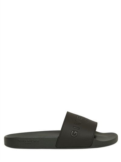 bbe115628ba0e GIVENCHY Logo Embossed Rubber Slide Sandals