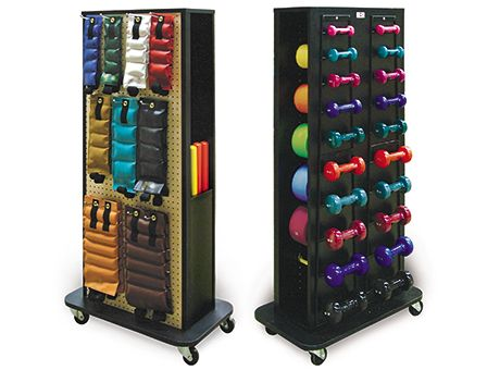 home exercise equipment storage that is compact and tidy