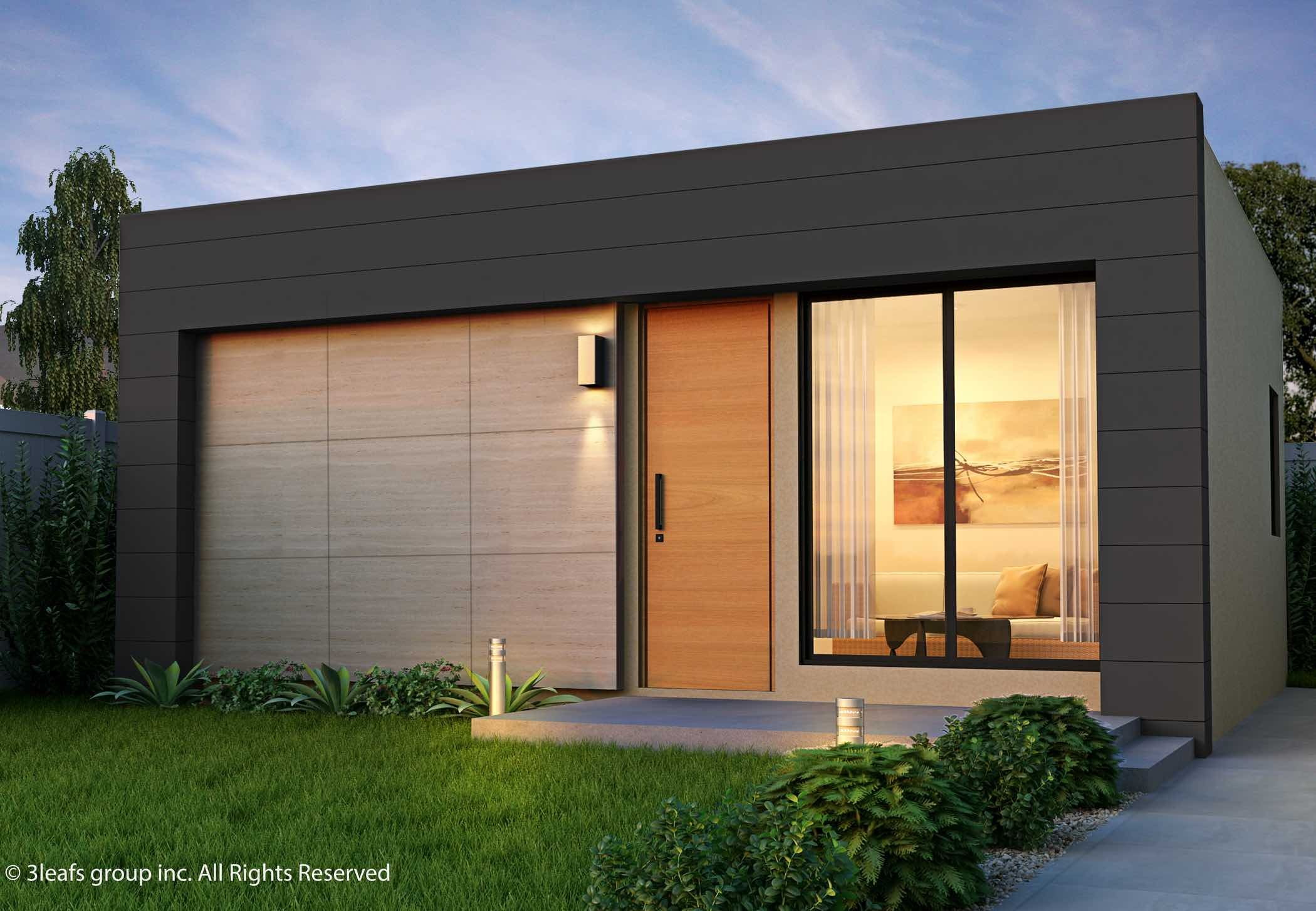 Garden Suite 3 Leafs Homes Container Home made from recycled