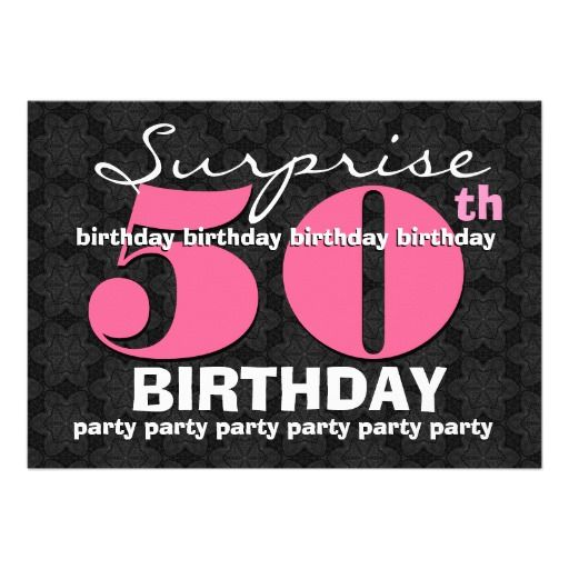 50th SUPRISE Birthday Party Pink Black For Her E32 Card E InvitationsSurprise